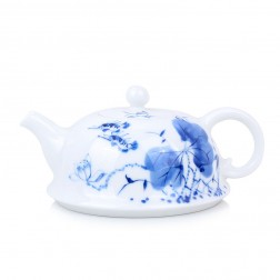 Blue and White Porcelain Tea Pot-Mandarin Fish in Lotus Pond-Wide