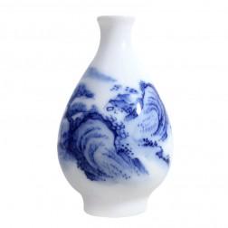Blue and White Porcelain Vase-Farmhouse in High Mountain