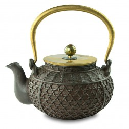 Cast Iron Kettle with Copper Lid, Handle and Knob-High-temperature Oxidation-Basket-Antique Finish