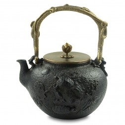 Cast Iron Kettle with Copper Lid, Handle and Knob-High-temperature Oxidation-Tortoise and Crane
