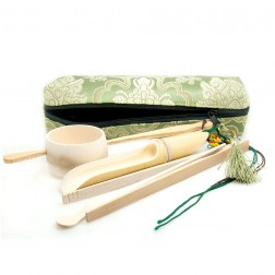 Embroidered Silk Bag Packing Cha Dao-Bamboo Gong Fu Tea Ceremony Accessory Set-Silkroad