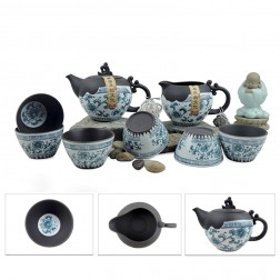 Mr.Zhang-Black Pottery Tea Set-Plum Blossom-8 Items/Set