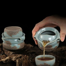 Mr.Zhang-Imperial Jade Glaze Pottery Quick Tea Set-Sea of Clouds