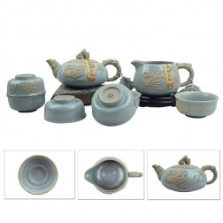 Mr.Zhang-Imperial Jade Glaze Pottery Tea Set-Dragon Seal-8 Items/Set