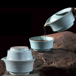 Mr.Zhang-Ru Kiln Quick Tea Set-Ripple-Sky Cyan