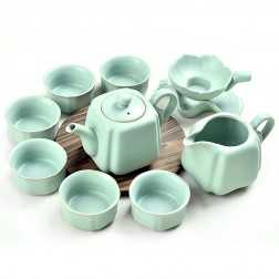 Ru Kiln Porcelain Tea Pot Set-Old School-Sky Cyan-10 Items/Set