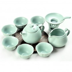 Ru Kiln Porcelain Tea Pot Set-The Queen-A-Sky Cyan-10 Items/Set