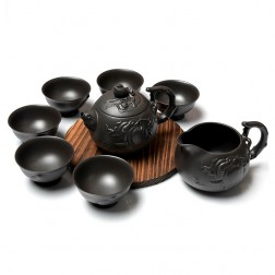 Zi Sha-Black Clay Tea Set-Peach-8 Items/Set