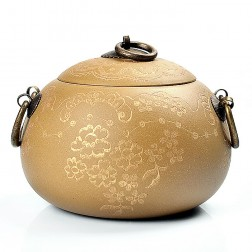 Zi Sha-Duan(Tuan) Clay Tea Caddy-Gold Plum