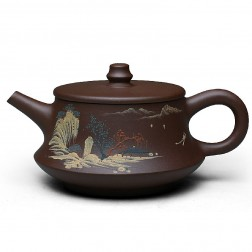 Zi Sha-Purple Clay Tea Pot-250ML-Slip Decoration-Mountain Spring