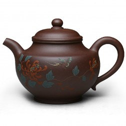 Zi Sha-Purple Clay Tea Pot-300ML-Slip Decoration-Chrysanthemum