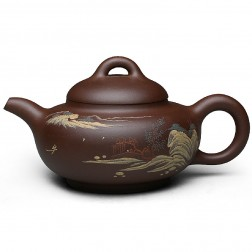 Zi Sha-Purple Clay Tea Pot-350ML-Slip Decoration-Spring Valley
