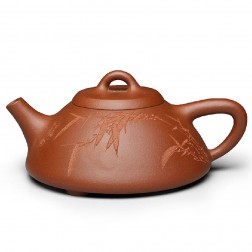 Zi Sha-Qing Shui(Pure) Clay Tea Pot-150ML-Stone Gourd Ladle-I-Hand-carved Bamboo