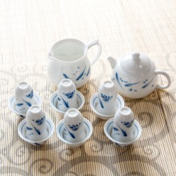 Blue and White Porcelain Teapot-set-Fishes Playing in Pond-14 Items/Set