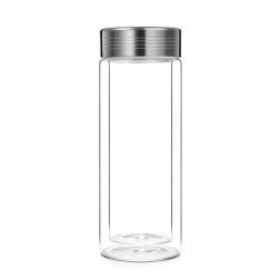 Double-wall Glass Travel Tumbler with Stainless Steel Filter-300A