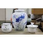 Blue and White Porcelain Caddy-Likes Lotus Saying