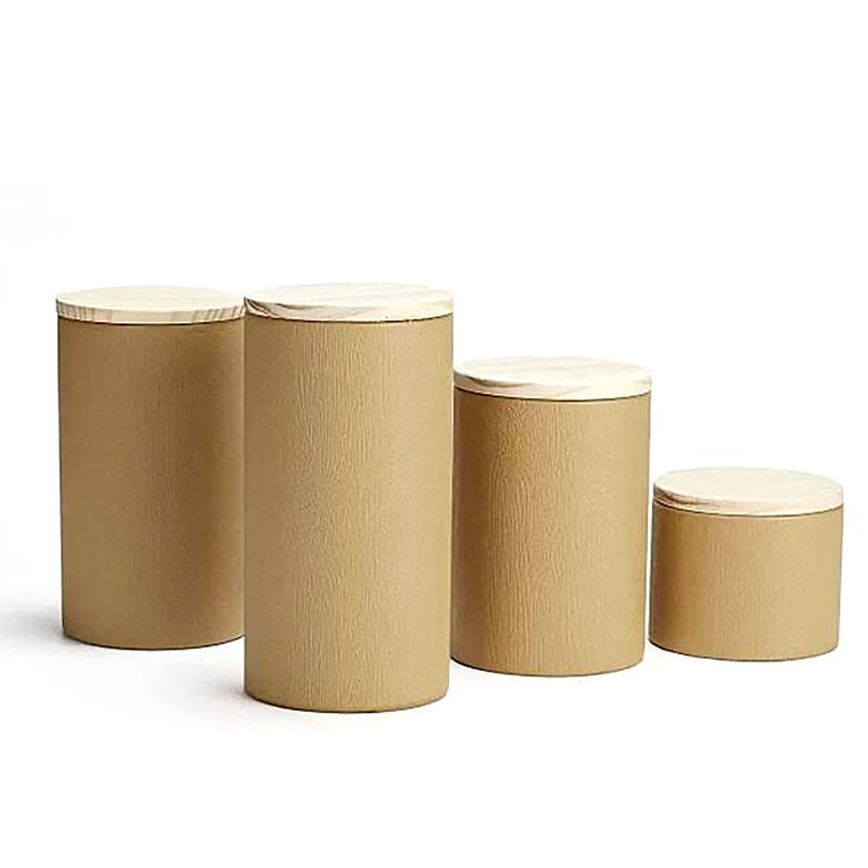 Tree Bark Pattern Kraft Paper Canister With Nature Pine