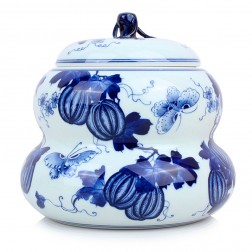 Blue and White Porcelain Caddy-Bottle Gourd
