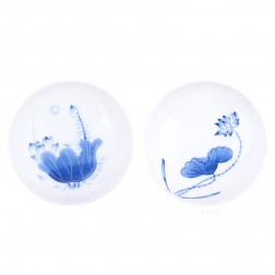 Blue and White Porcelain Cup Set-2PCS-Lotus-F