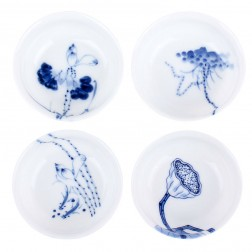 Blue and White Porcelain Cup Set-4PCS-Lotus-C