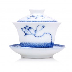 Blue and White Porcelain Gaiwan-Lotus in Moon River