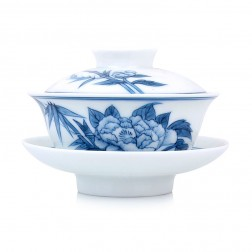 Blue and White Porcelain Gaiwan-Peony