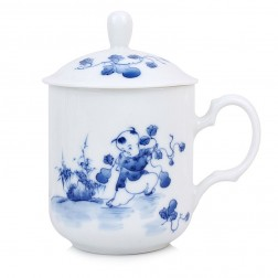 Blue and White Porcelain Mug with Cover-Childhood