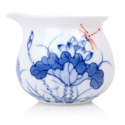 Blue and White Porcelain Serving Pitcher-Underglaze Red-Dragonfly on Lotus