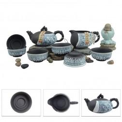 Mr.Zhang-Black Pottery Tea Set-Spring Garden-8 Items/Set