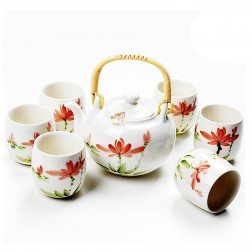 Porcelain Tea Set-Ice-cracked Glaze-Colorful Lotus-7 Items/Set