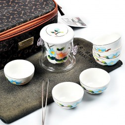 Porcelain and Glass Portable Tea Set-Overglaze Colours-Spring Birds-8 Items/Bag