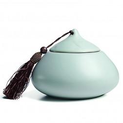 Ru Kiln Porcelain Tea Caddy-Cloud Top-Sky Cyan