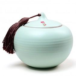 Ru Kiln Porcelain Tea Caddy-Cluster-Sky Cyan
