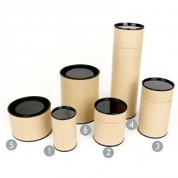 Brown Kraft Paper Canister with Painted Metal Lid and Aluminum Laminated Film Inside-Various Sizes Available